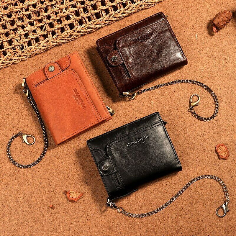 NEW Brand Classic Style RFID Men's Wallet Genuine Leather Short Male Purse Small