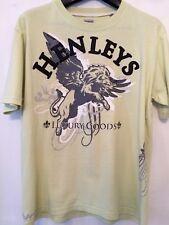Used Mens Lime Green Henleys Studded Motif T Shirt Large