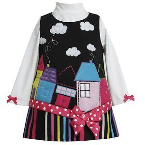 New Bonnie Jean Baby Toddler Girls House Jumper Shirt Set