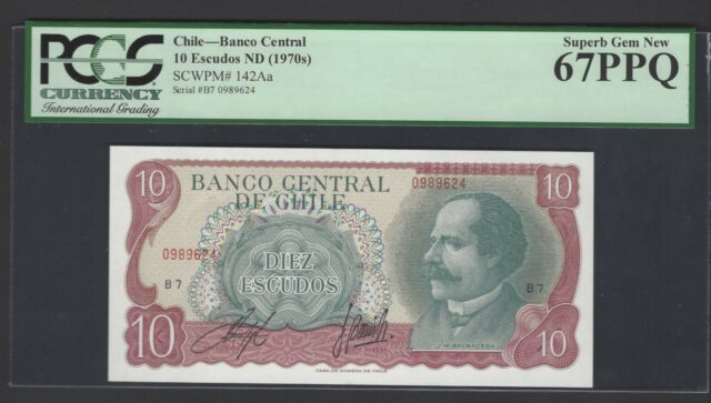 Chile 10 Escudos ND(1970)s P142Aa Uncirculated Graded 67