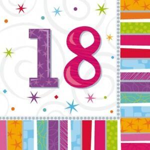 16 Servietten Mit Zahl 18 Geburtstag Party Dekoration Deko Neu Ovp