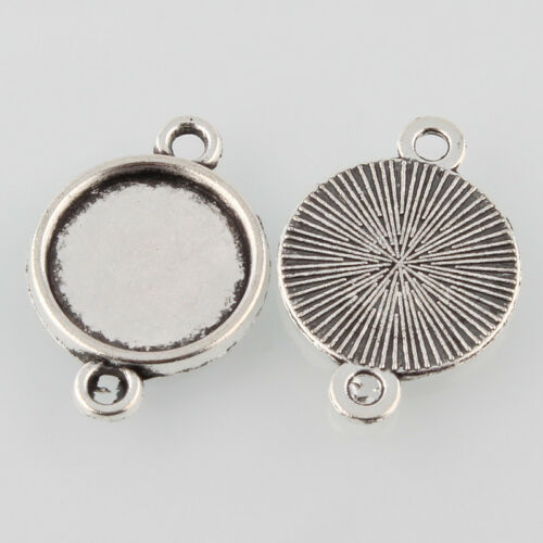 50 pcs Antique Silver Tibetan Style Alloy Flat Round Cabochon Connector Settings