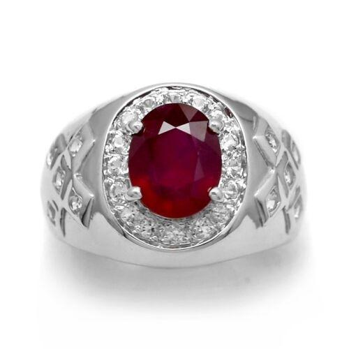 10x8mm Naturel Riche Rouge rubis homme anneau blanc avec topaze en argent 925 #28832