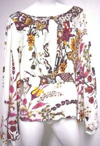 Just-Cavalli-Women-039-s-Bell-Long-Sleeves-Floral-Print-Shirt-Blouse-open-back-48