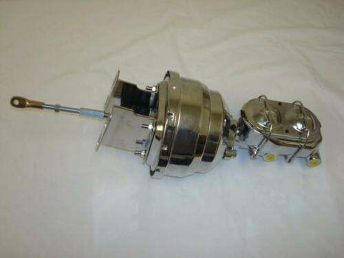 """1957-1959 Ford Chrome 8/"""" Dual Power Brake Booster Bail Top Master Cylinder"""