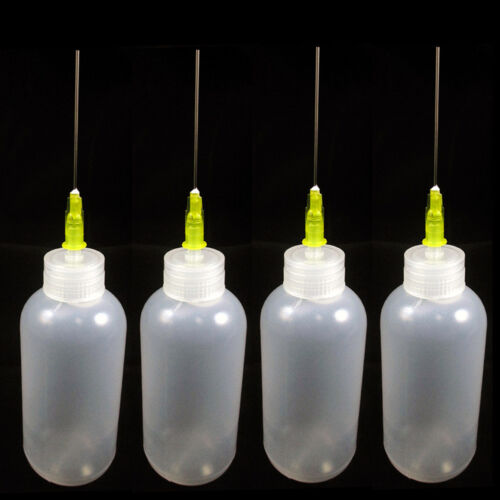 4 Needle Tip Plastic Bottle Dispenser Oil Solvent Ink Applicator Dropper 0.7 Oz