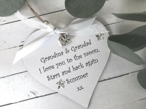 Nana Grandma Grandad Grandpa Personalised Heart Keepsake Gift Sign Plaque P104