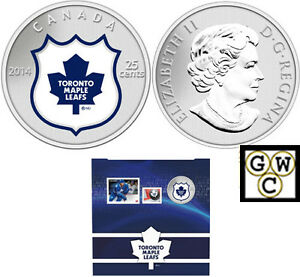2014-039-Toronto-Maple-Leafs-NHL-Hockey-039-Colorized-25-Cent-Coin-amp-Stamp-Set-13313