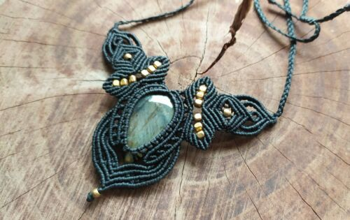 Macrame Necklace Jewelry Cabochon Labradorite Stone Handmade Boho Brass Beads