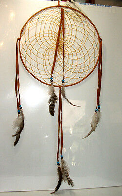 "Native American made Dreamcatcher Navajo Large 12"" dia Tobacco Brown #153"