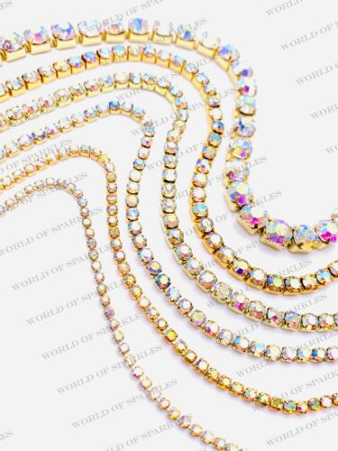 Strass Ab Iridescent Chaîne Cristal Bordure Lacet Ruban Argent et Diamant