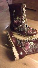 Christian Dior Boots Stiefel bestickt Leder braun vergriff Gr40 LUXUS emboidered
