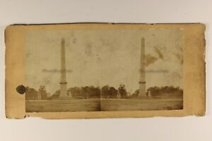 L'Obelisco Da Luxor a Parigi Francia Foto Stereo Vintage Albumina c1865