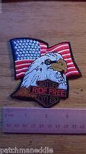 "BIKER MILITARY PATCH ""US FLAG EAGLE RIDE FREE"" NEW NICE SHIPS FREE USA"