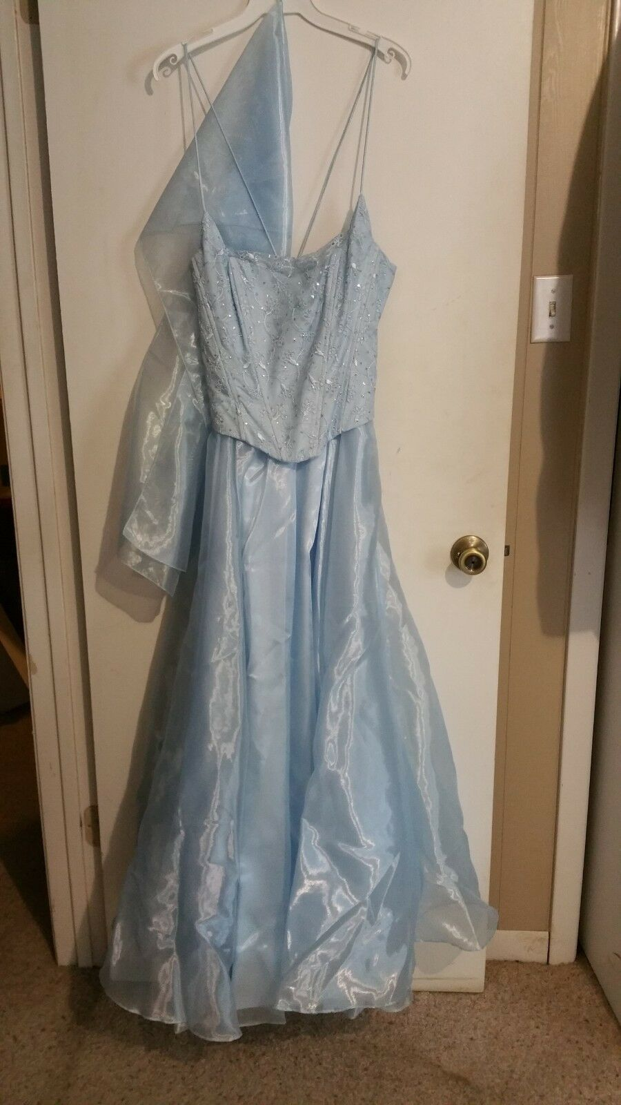 Icy blue formal / prom dress w/ shawl, corset style bodice, full skirt, large