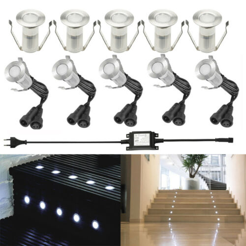 8W Driver 10pcs//set 19mm 12V Outdoor Garden Stair Path Flat In LED Deck Lights