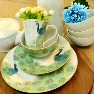 222-Fifth-16-piece-Peacock-Dinnerware-Set-Service-for-4-NEW