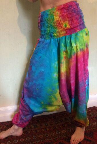 HAREM TROUSERS Tie Dye Harems Print HIPPY BOHO ALADDIN ALIBABA GENIE yoga Baggy