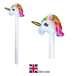 INFLATABLE-RAINBOW-UNICORN-STICK-Kids-Blow-Up-Pony-Birthday-Party-Basher-Toy-UK