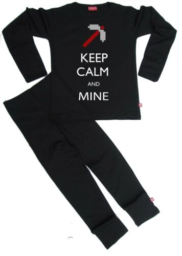 BLACK Stardust Ethical Kids Childrens KEEP CALM /& MINE PYJAMAS