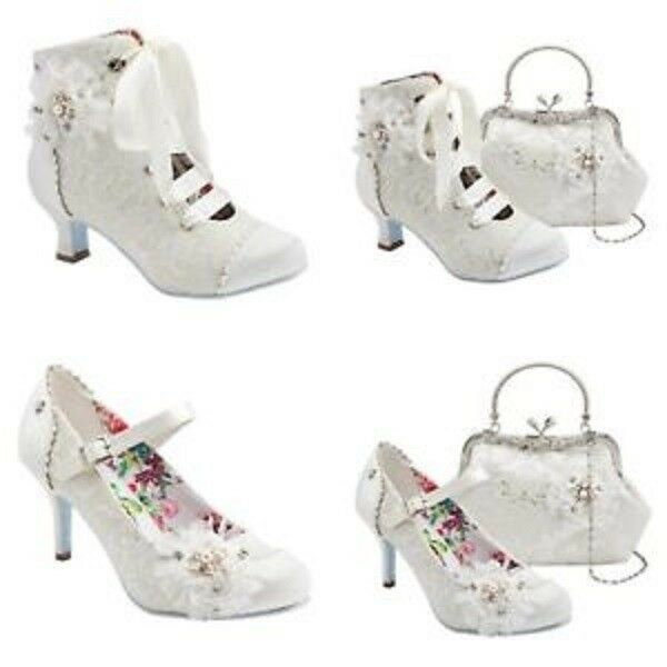 Joe Brauns Ivory Wedding Bridal Hitched Mid Heel Schuhe Boot and HandBag A0320/21