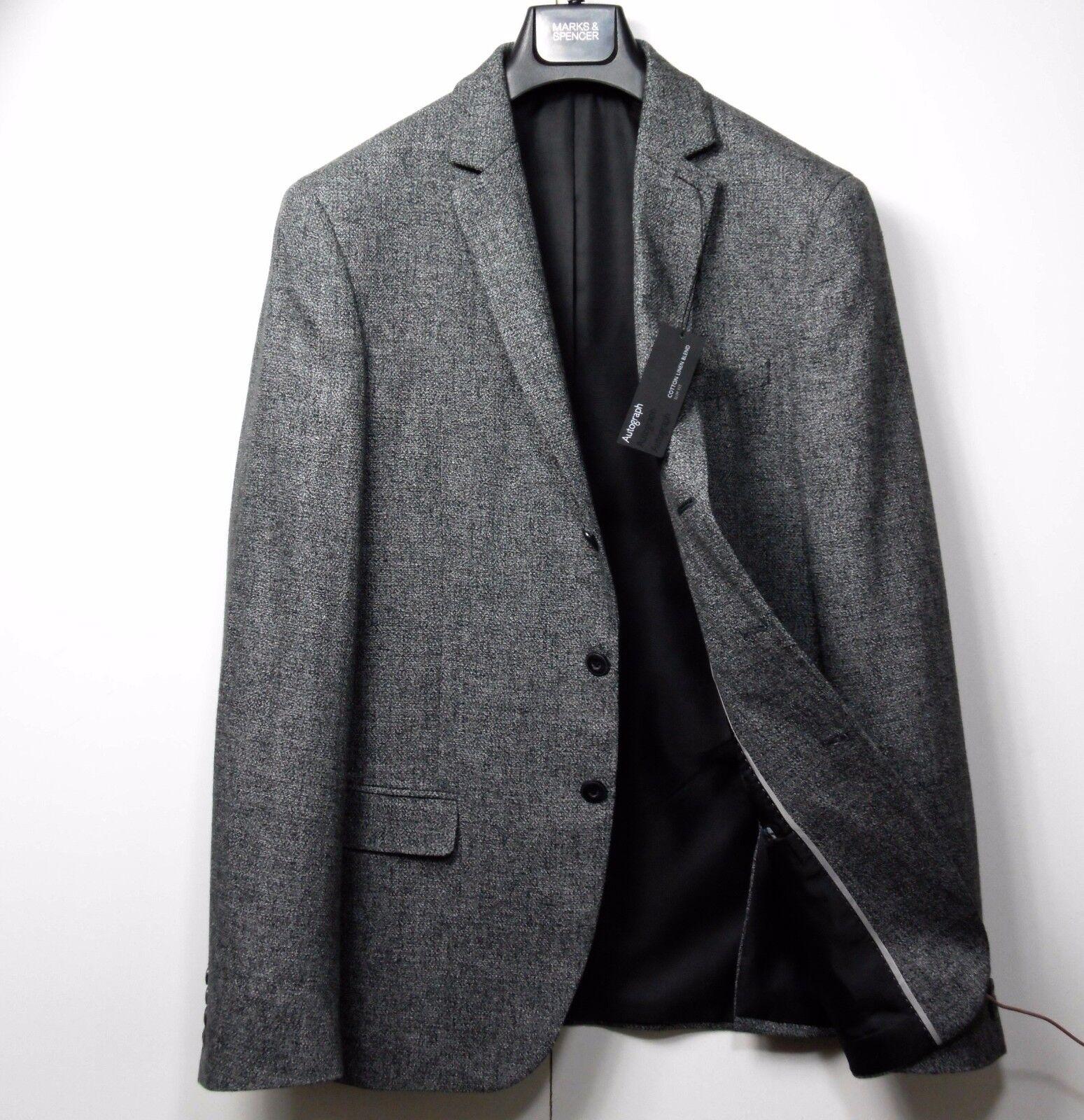 M&S AUTOGRAPH Cotton & Linen SLIM Fit BLAZER  Größe 42 Med.  grau MIX, rrp