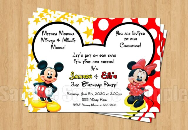 10 Minnie Mickey Mouse Twins Birthday Party Invitations Red Black Yellow CUTE