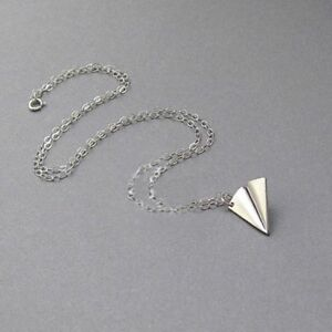 Men-Cute-Paper-Airplane-Pendant-Necklace-Clavicle-Chain-Origami-Aircraft-Shape