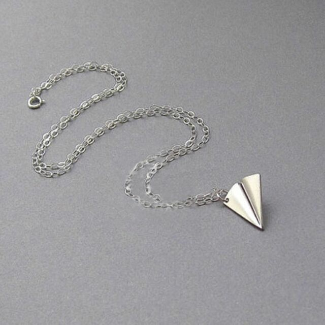 Men Cute Paper Airplane Pendant Necklace Clavicle Chain Origami Aircraft Shape