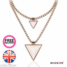 NEW Triangle Beige Gold Spike Necklace Double Chain Womens Choker Ladies UK P&P
