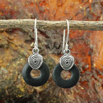 Black Onyx Gemstone Dangle Earrings 925 Sterling Silver Women's Jewelry X399