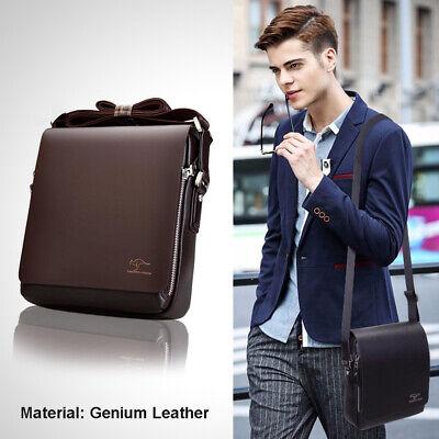 Men/'s Brown PU Leather Handbag Briefcase Shoulder Messenger Bag Purse Adjustable
