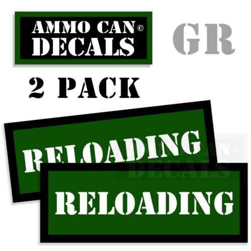 RELOADING Ammo Can GREEN Labels Ammunition Case sticker decals 2 pack 3x1.15