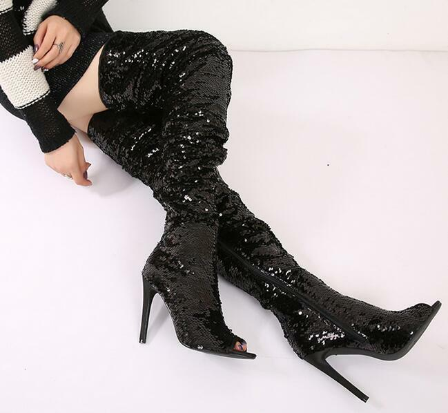 Bling Shiny Sequin Cortly Womens Open Toe Over Knee Boots 5  High Heel Stilettos