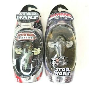 Star Wars Titanium (Lot of 2) Boba Fett Slave I 2004 and 2006 NEW