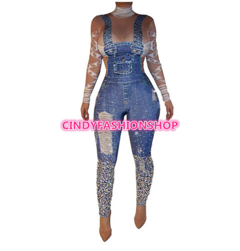 USA Women Denim Printed Skinny Turtleneck Long Sleeve Back Hollow Out Jumpsuit