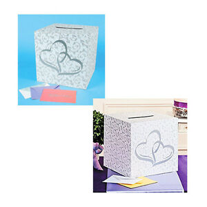 White-amp-Silver-Theme-2-Hearts-Wedding-Gift-Box-Memories-Cards-Money-Wishing-Well