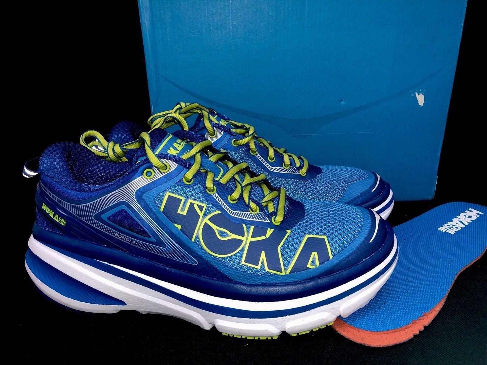 Hoka One One Bondi 4 Walking Tennis Trail shoes Directoire bluee Citrus Lace Up