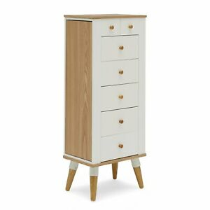 White Natural Wood Mid Century Modern Freestanding Jewelry Armoire Cabinet Ebay