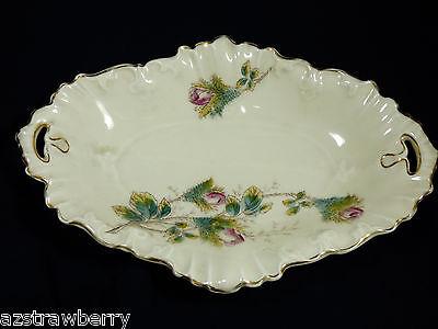 VTG 19th century P.P. Anchor European Porcelain Floral Gold trim dish w handles