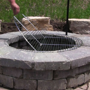 Image Is Loading Foldable Outdoor Fire Pit Cooking Grill Grate Chrome