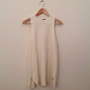 The-Row-Sweater-S-Ivory-Cotton-Silk-Tank-Top-Women-039-s-Asymmetrical-Hem-Tunic