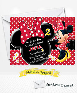 Image Is Loading PRINTED Disney Minnie Mouse Birthday Invitations Red