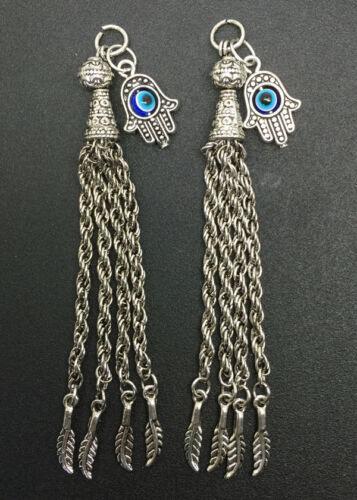 Wholesale Tibet Silver Long Tassel Palm Bead Hyperbole Nouveau Chic Pendentifs 10pcs