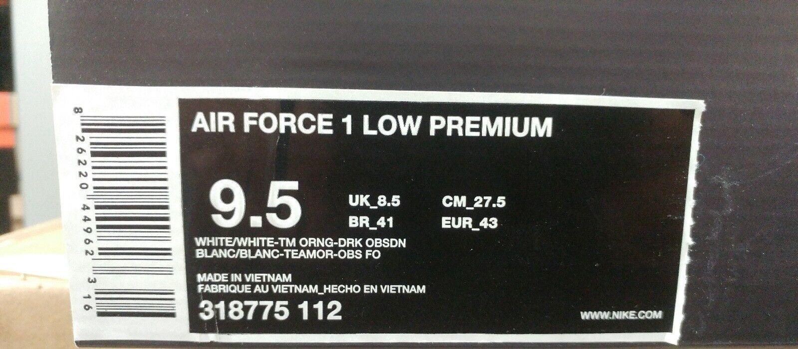nike air force 1 wahr geringe prämie größe 9.5futura wahr 1 sein weißes orange schuh 318775-112 bd19ea