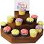 縮圖 1 - Cupcake Stand Spice Rack Shelf Small Wooden Step Stand Display With Card Holder