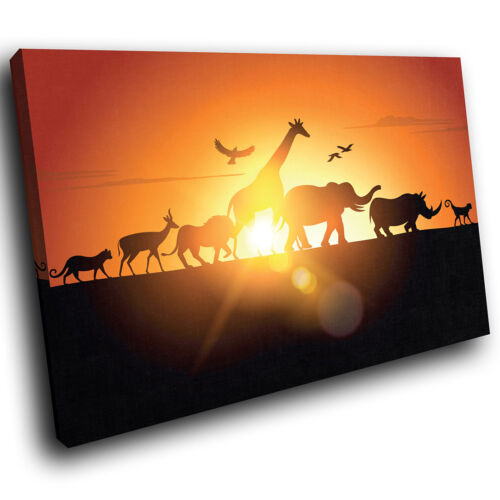 African Sunset Silhouette Funky Animal Canvas Wall Art Large Picture Prints