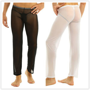 Mens Lingerie Long Johns Mesh Pants Thermal Gauze See-through Underwear Trousers