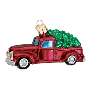 Old World Christmas OLD TRUCK WITH TREE (46029)N Glass Ornament w/OWC Box