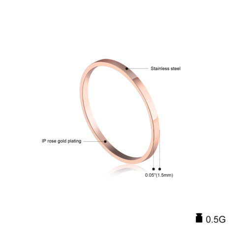 1 pieces lisse Or Rose Plaqué Or Chirurgical En Acier Inoxydable Band Anneau US Taille 4 5 6 7 8